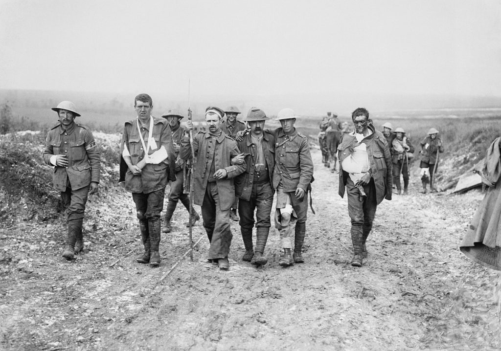 Soldados Britânicos feridos durante a Primeira Guerra Mundial